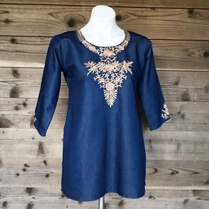 Parshwa ¾ Sleeve Floral Embroidered Denim Tunic Lg